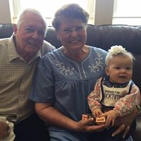 Grandma Connie and Grandpa Bob with Raegan