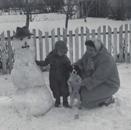 Making a snowman with mom