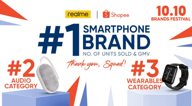 realme named no. 1 smartphone brand  during 10.10 Shopee Sale | Good Guy Gadgets