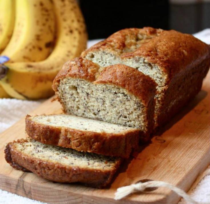Pan de platano - Receta de Comida para Diabéticos Fácil - Pan de Plátanos con Nueces sin Azúcar