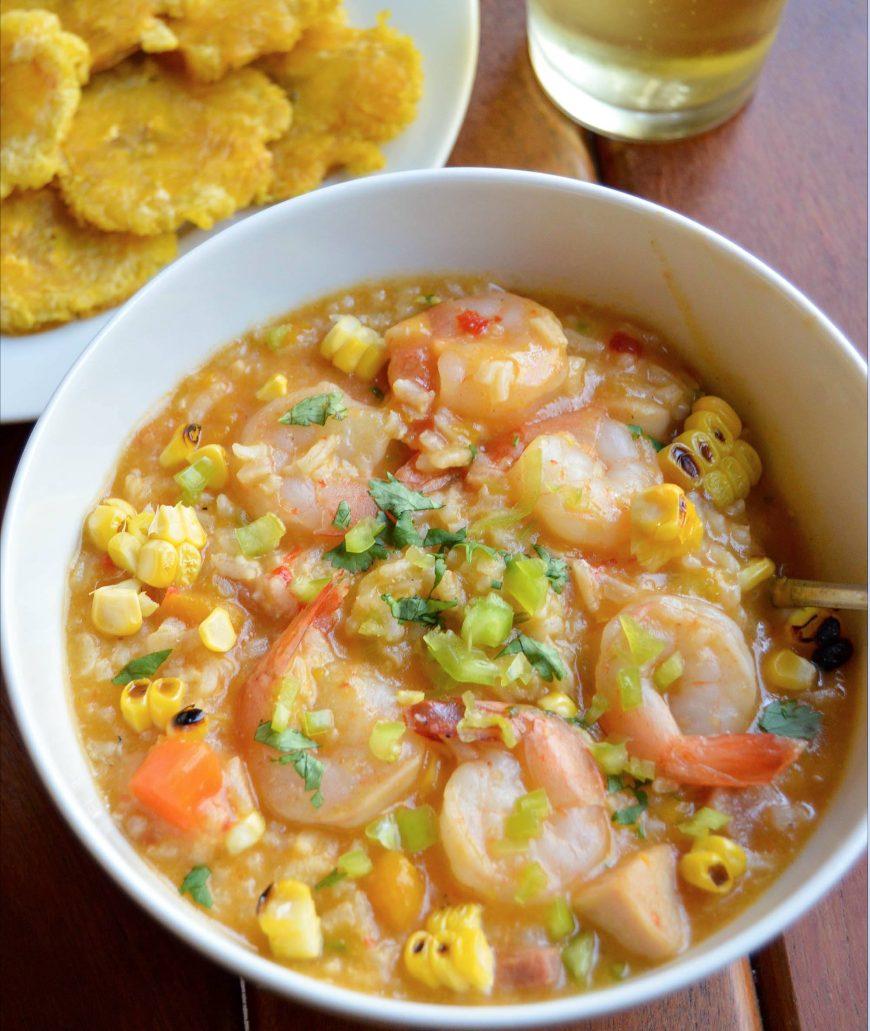 Receta de Asopao de Camarones - Cómo hacer Asopao de Camarones y Tostones al Estilo Dominicano
