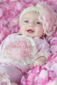 Haute Baby Girls Outfit - Pink Flowers & Headpiece
