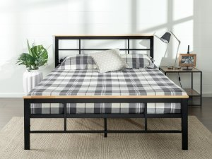 Zinus Urban Metal and Wood Platform Bed with Wooden Slat Support
