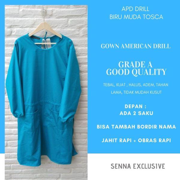 APD Gown Drill Biru Tosca