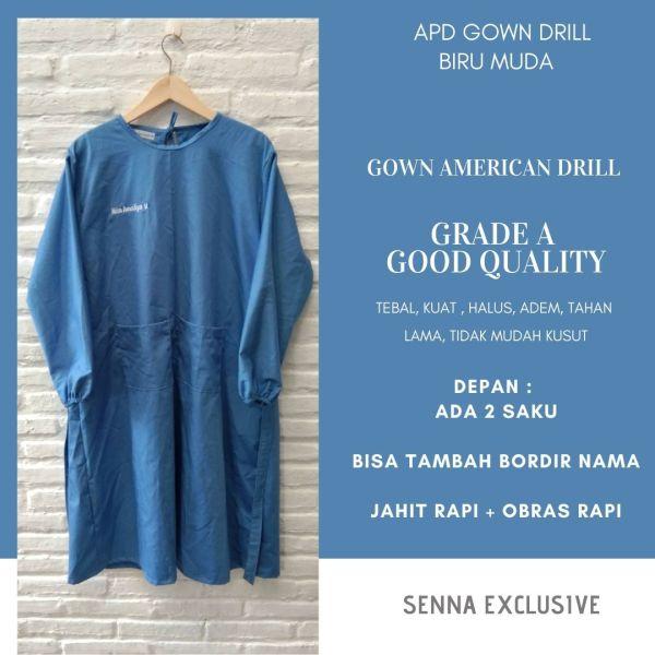 APD Gown Drill Biru Muda Surgical Gown