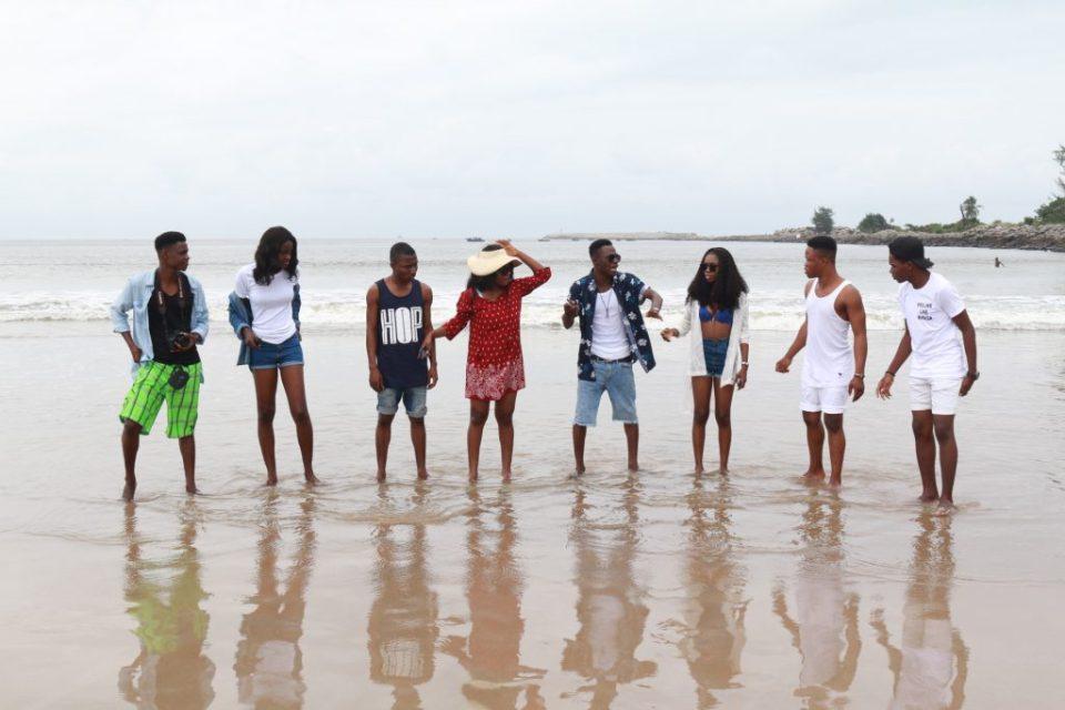group of friends at tarkwa bay lagos state