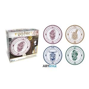 Assiettes porcelaine Harry Potter Poudlard Lot de 4