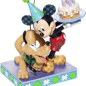 Figurine Disney Traditions Mickey et Pluto Anniversaire