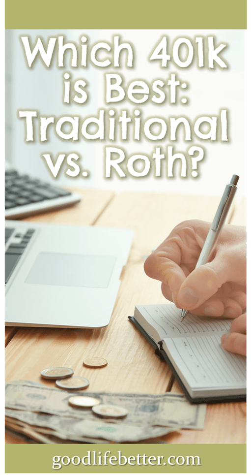 Choosing how to invest my retirement contributions wasn't easy as I have access to both a traditional 401k and a Roth 401k. I recently decided to go all in on the Roth 401k because I would rather pay taxes now when I know my income and my tax rate. What's your strategy? #RetirementPlanning #401ks #GoodLifeBetter