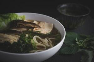 Japanese Udon Soup Noodles in Shitake Mushroom Broth