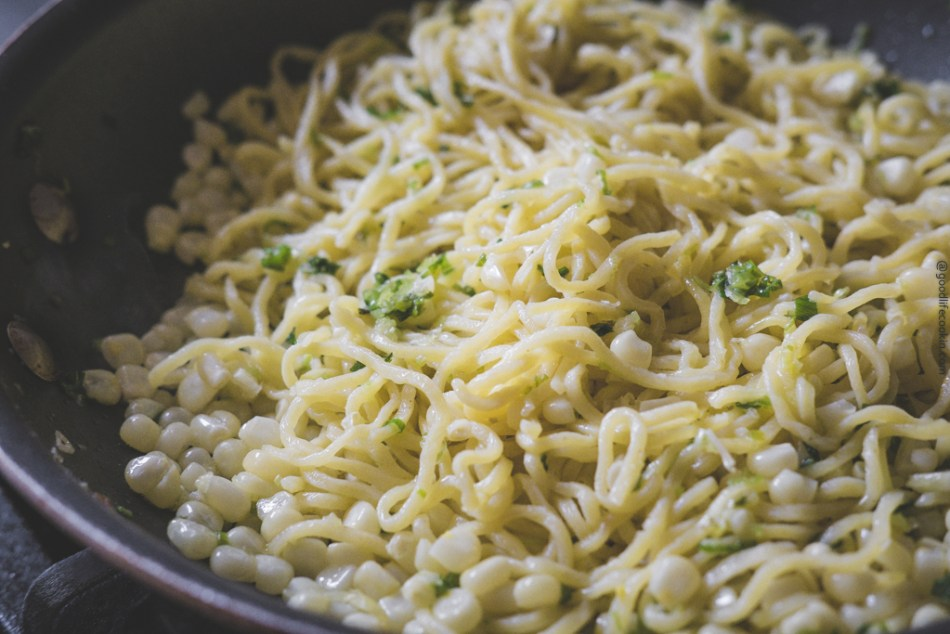 Green Onion Corn Pasta in Pan