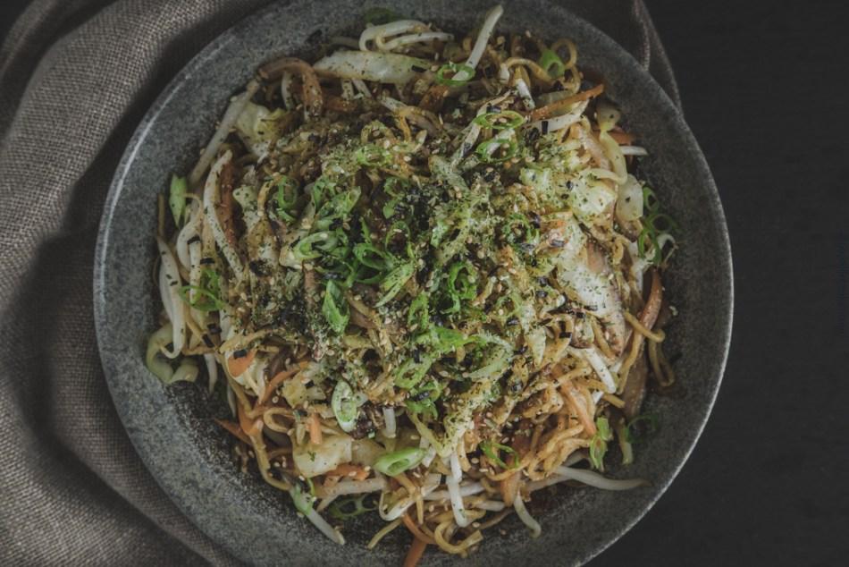 Plated Yakisoba noodles