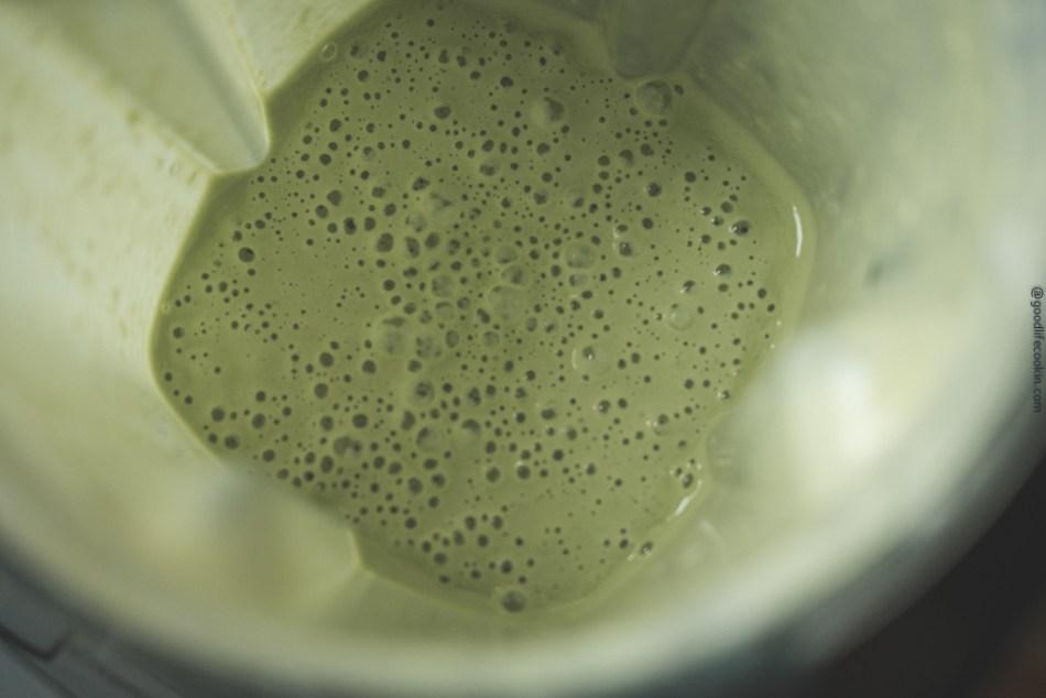 Creamy basil green dressing blended