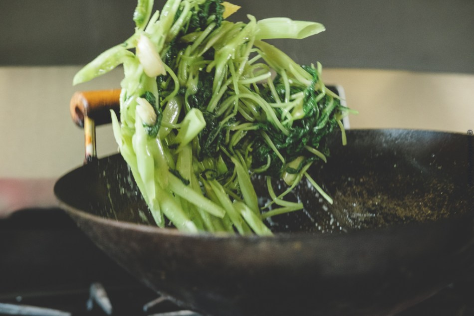 wok tossed water spinach