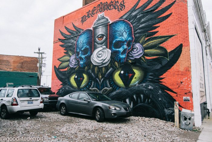 Detroit Murals in the Market. Mural art by Jeff Soto and Max242.