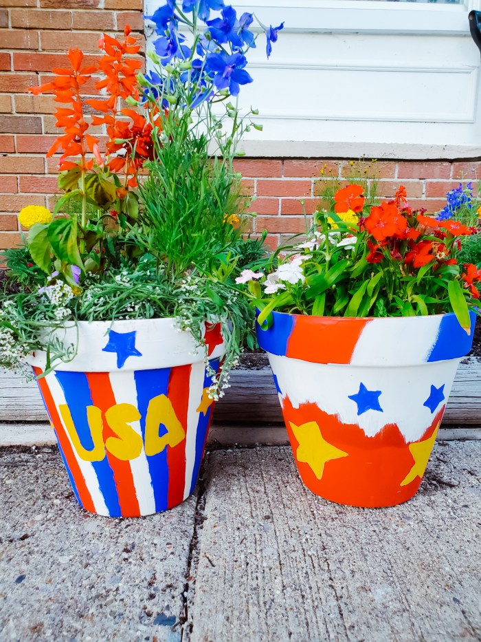 DIY 4th of July Flower Pots