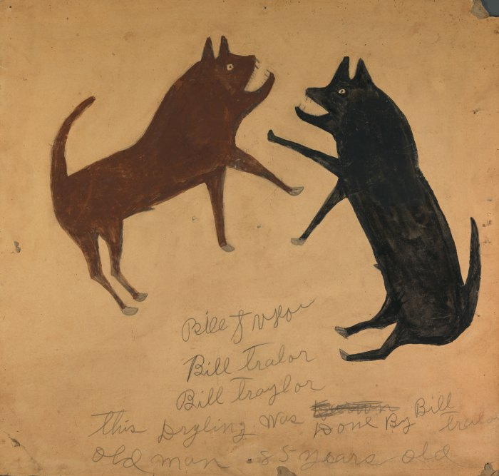 Bill Traylor artwork depiction of a brown  dog fighting a black dog.  Untitled from the collection of the Smithsonian American Art Museum 1994 Bill Traylor Family Trust