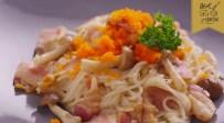 พาสต้าเส้นขนมจีนซอสเห็ดกับไข่กุ้ง