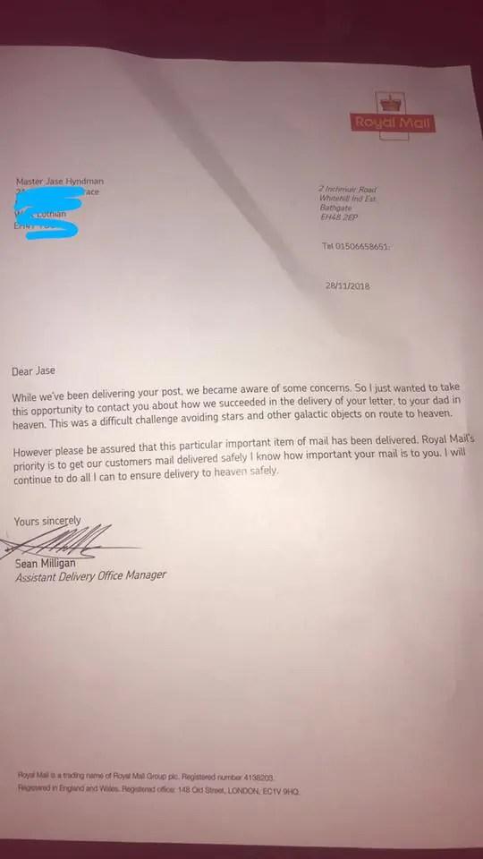 หนูน้อยส่งจดหมายถึงพ่อบนสวรรค์