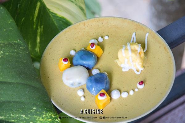 มะม่วง บัวลอย ซอสกะทิ ผลไม้คลายร้อน ซอร์เบต์มะม่วง
