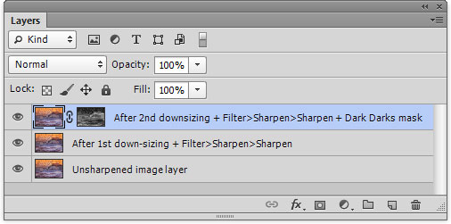Layer stack for web-sharpened image