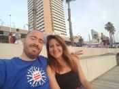 Sitting on the beach in Tel Aviv