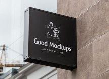 Free Outdoor Advertisment Wall Sign Logo Mockup Psd - Good