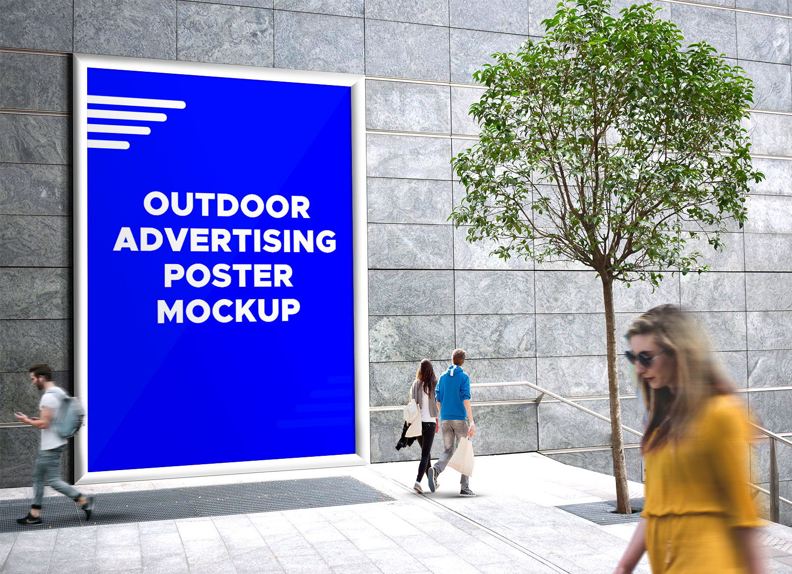 Free Outdoor Advertising Street Billboard Mockup PSD