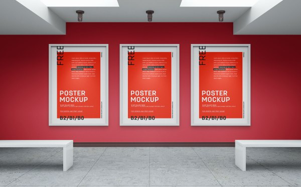 Free Art Wall Canvas Poster Mockup Psd - Good