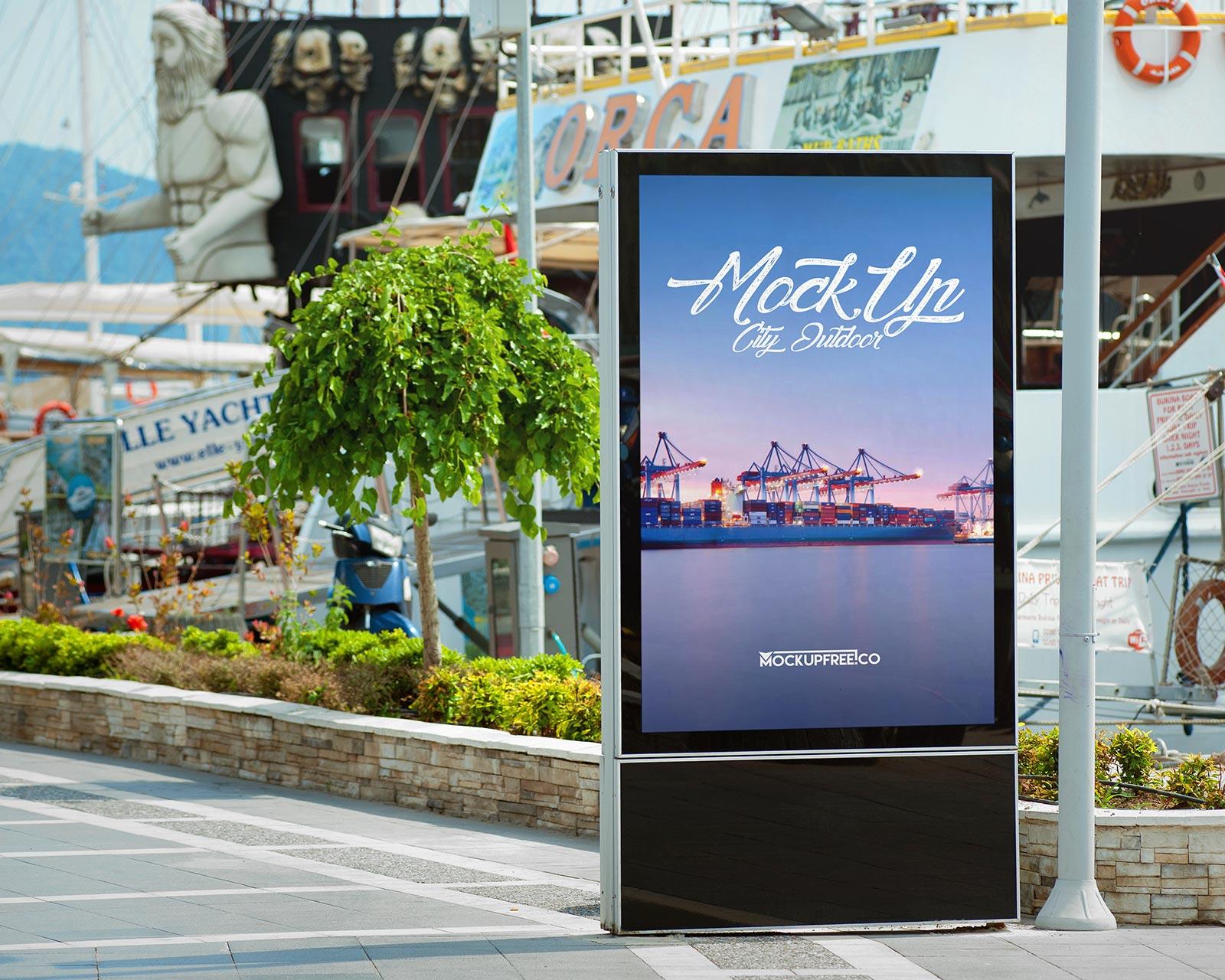 Free Roadside Street Billboard Mockup Set Harbor Edition Good Mockups