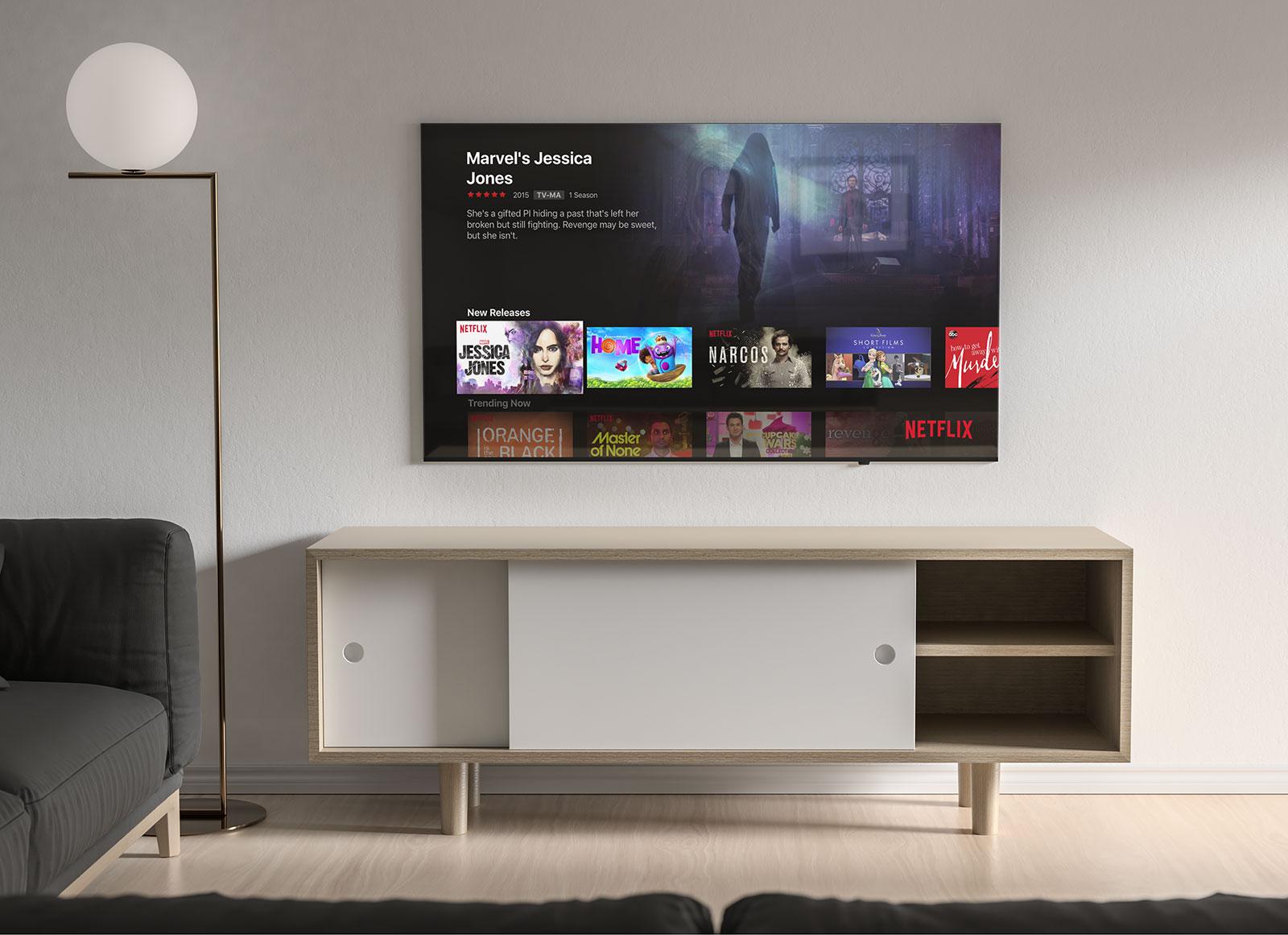 Free Living Room 4k Tv Screen Mockup Psd Good Mockups