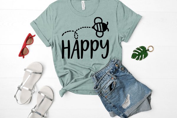 Free Bee Happy SVG. With this free SVG you can make so many DIY projects for beginners and advanced a like. Cricut projects are so much fun. be kind. #cricut #freesvg #diy #beehappy