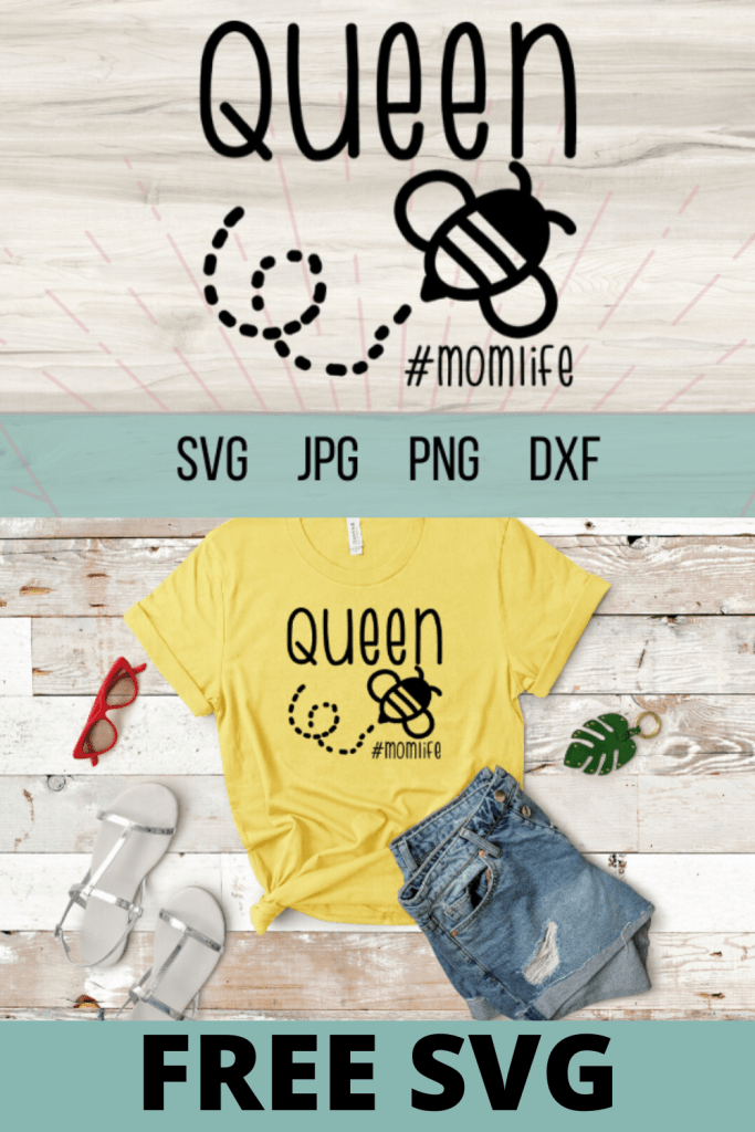 Free Queen Bee SVG makes for an adorable Cricut DIY project. Cricut crafts and Cricut projects are so much fun. Free SVG files for Cricut. #queenbee #cricut #freesvg #momlife