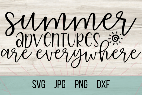 Free Summer Adventures SVG marks the beginning of summer. With this adorable SVG you can make the perfect Cricut DIY project! Great for shirts with sayings or canvas bags. #cricut #freesvg #summersvg