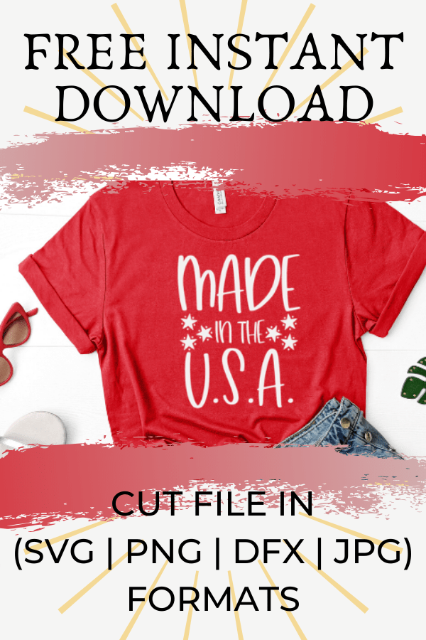 Free Made in the USA SVG will make for the perfect DIY patriotic Tee. Make a 4th of July shirt with this simple SVG. Cricut SVG files make for super easy beginner projects. #cricut #silhouette #freesvg #svg #diy #project