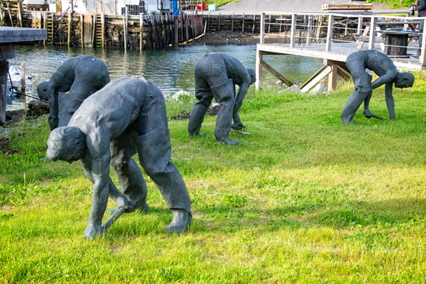 This sculpture of clam diggers brings back memories of my great-grandfather Weymouth Roberts