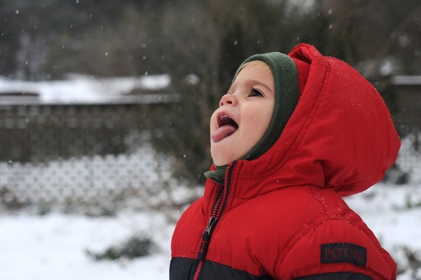 Catching Snow Flakes on Tongue