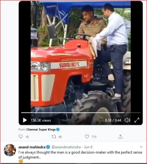 MS Dhoni on Tractor-Anand-mahindra quotes