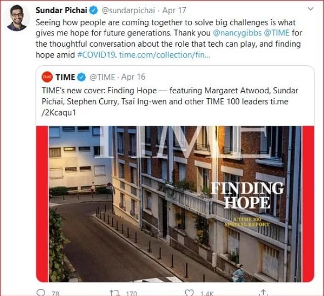 Sundar Pichai Twitter tweets quotes on life