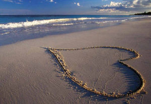 Good Morning My Love_Heart in the Sand on Beach