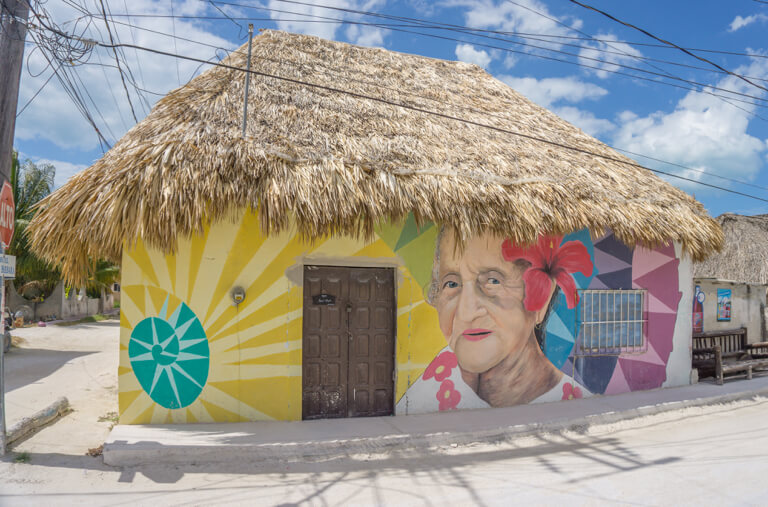Isla Holbox Mexico Street Art Old Woman