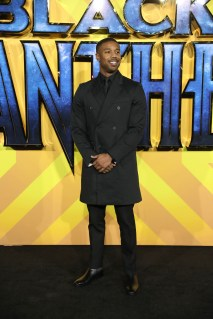 """LONDON, ENGLAND - FEBRUARY 08: Michael B Jordan attends the European Premiere of Marvel Studios' """"Black Panther"""" at the Eventim Apollo, Hammersmith on February 8, 2018 in London, England. (Photo by Gareth Cattermole/Getty Images for Disney) *** Local Caption *** Michael B Jordan"""
