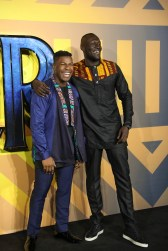 """LONDON, ENGLAND - FEBRUARY 08: John Boyega and Stormzy attend the European Premiere of Marvel Studios' """"Black Panther"""" at the Eventim Apollo, Hammersmith on February 8, 2018 in London, England. (Photo by Gareth Cattermole/Getty Images for Disney) *** Local Caption *** John Boyega; Stormzy"""