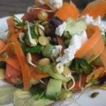 simple sprout salad with tamari-toasted pumpkin seeds