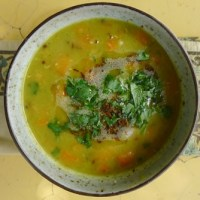 green pea & yellow dal coconut curry soup