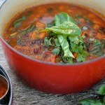 spiced adzuki bean stew with vibrant green chard