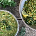 whole moong dal with garden greens - two variations