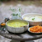 light & cleansing - green gram tovve, carrot palya, white basmati rice