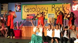 Geology rocks performance at Golden Elementary School.