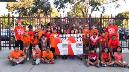 Golden Elementary School students and staff wearing orange to spread the message of anti-bullying.